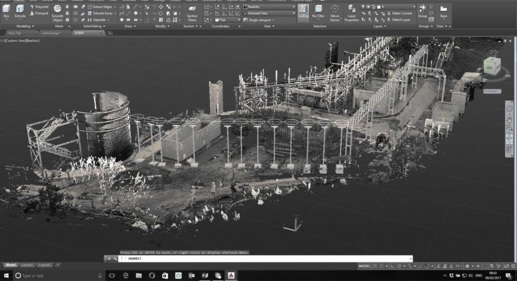 PointSCAN 3D laser surveys provide point cloud models for AutoCAD overlay