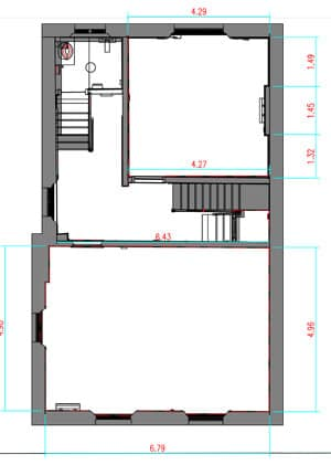 on-site survey creates 2D measured building plan drawings